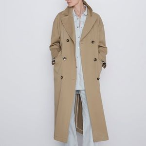 NWT ZARA LONG BUTTONED TRENCH